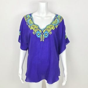 Johnny Was Embroidered Pullover Blouse Cobalt Blue